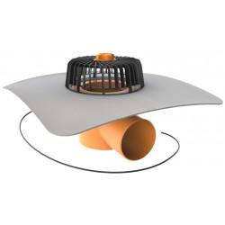 Střešní vpusť vodorovná TOPWET s integrovanou PVC manžetou, vyhřívaná