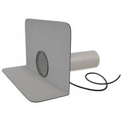 Chrlič kulatý s integrovanou PVC manžetou a ochrannou mřížkou, délka 600 mm (DN 150), vyhřívaný