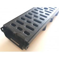 Odvodňovací žlab A15 s plastovou mříží 1,5t (1000x131x63mm), nízkoprofilový