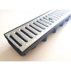 Odvodňovací žlab s pozinkovanou mříží A15 (1000x131x63mm), nízkoprofilový